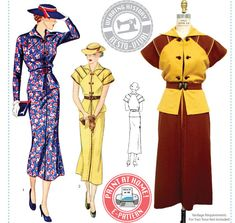 Wearing History #3016- Tea at Two- 1930s Day or Afternoon Dress    This listing is for an E-Pattern to print yourself at home on your home