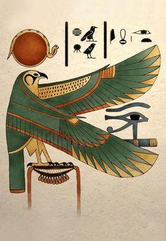 Horus : le dieu faucon « celui qui est au-dessus » ou « celui qui est lointain ». incarne l'ordre et, tout comme pharaon, il est l'un des garants de l'harmonie universelle ; cependant ne faut pas réduire la théologie complexe des Égyptiens à une conception manichéenne car bien et mal sont des aspects complémentaires de la création, tous deux présents en toute divinité. Qu'il soit —faucon céleste, dieu créateur ou fils d'Osiris : c'est le dieu dynastique par excellence.