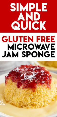 Microwaveable Gluten Free Jam Sponge Pudding Recipe (dairy free) Sponge Pudding Recipe, Pudding Recipes, Mug Recipes, Gluten Free Recipes For Dinner, Tasty, Yummy Food, Fancy Desserts, Meals For One, Puddings