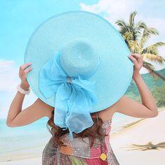 2017 Señoras Del Verano de Ala Ancha de Paja Sombreros Para Mujer Playa  Encabezamiento Large Floppy 6e9b89720fa