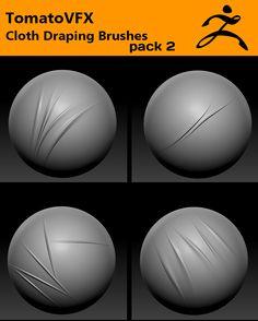 TomatoVFX - Cloth Draping Brushes Pack 2 for ZBrush by Tomato VFX, via Behance