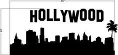 Hollywood Wall Decal Sign California Skyline Dorm Decor Palm Tree Modern Nursery