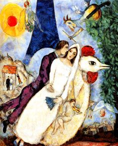 Marc Chagall BRIDE & GROOM OF THE EIFFEL TOWER