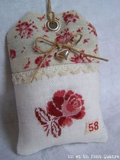 decoration or fragrance sachet Cross Stitch Finishing, Cross Stitch Heart, Cross Stitch Flowers, Cross Stitching, Cross Stitch Embroidery, Hand Embroidery, Cross Stitch Patterns, Fabric Crafts, Sewing Crafts