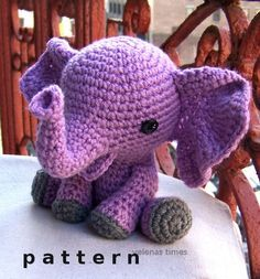 Bebé elefante al instante descargar Crochet patrón-juguete elefante Amigurumi elefante-Crochet DIY juguete de peluche juguete Animal elefante Tutorial