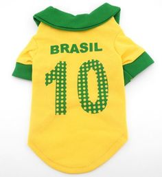2014 World Cup Soccer Football Jersey Shirt Tee Pet Cat Puppy Small Dog clothes - Brazil Home S - http://www.thepuppy.org/2014-world-cup-soccer-football-jersey-shirt-tee-pet-cat-puppy-small-dog-clothes-brazil-home-s/