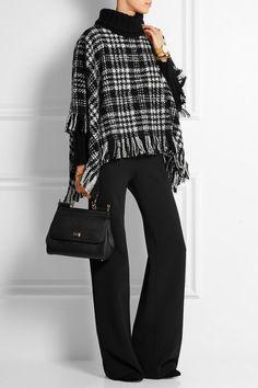 DOLCE & GABBANA Fringed wool-blend tweed turtleneck poncho