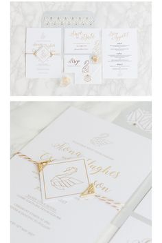 Origami Swan - gold foiling and marble invitation printed onto luxurious thick smooth card for a modern geometric bohemian luxe wedding. Finished with a foiled buckle and metallic gold twine.