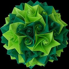 kusudama ball, oragami folding