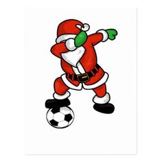 Santa Claus soccer dab dance ugly christmas T-shir Postcard - merry christmas postcards postal family xmas card holidays diy personalize