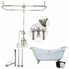 Randolph Morris 54 Inch Acrylic Clawfoot Tub and Shower Package ...