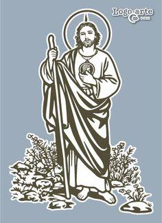 """San Judas Tadeo fué uno de los 12 apóstoles de Jesús. También se le conoce por """"Tadeo"""", pero su nombre de Judas siempre va acompañado de Tadeo para evitar confusiones con Judas Iscariote. Se le representa con un medallón con el rostro de Cristo en el pecho, caminando hacia la corte del rey de Edesa y una llama sobre la cabeza. Es el patrón de las causas perdidas y las situaciones desesperadas o imposibles. www.logo-arte.com/judastadeo.htm"""