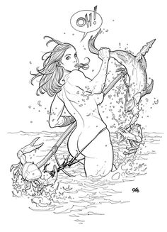 Jenny and crabs.-Frank Cho Comic Art