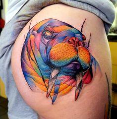 Colorful walrus butt tattoo by Dusty brasseur.  http://tattooideas247.com/walrus-butt/