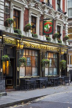The Sherlock Holmes Pub near Trafalgar, London, great food in upstairs restaurant where they have a complete replica of Sherlocks study,
