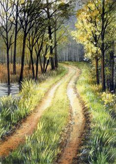 "Watercolor Original (5"" x 3,5"") Painting a Day Landscape by Elena Mezhibovsky #Miniature"