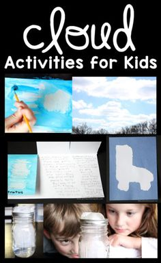 A great round-up of cloud activities for kids that includes reading, writing, art, and science experiments. Perfect activities for a weather unit! Kindergarten Science, Teaching Science, Science Education, Science For Kids, Science Activities, Science Projects, Science Experiments, Weather Kindergarten, Art Projects