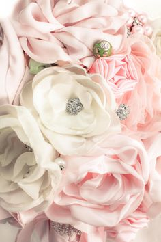 Alternative Wedding Bouquet  Blush Pink and by sunshineandvodka, $625.00 <--- Idea of course, Fabric/toule and sparkly bits with some paper flowers for texture?