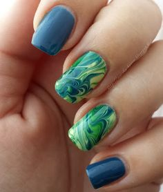 marble nails #blue #green