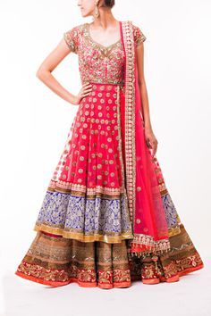 Salmon Pink Flaired Lacha