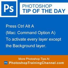 Press Ctrl Alt A (Mac: Command Option A) To activate every layer except the Background layer.