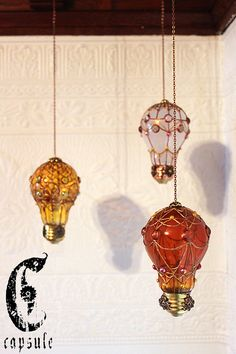Decorative Ornament Yellow Stained Glass Light Bulb Hot Air Balloon with Pink and Gold Beads Holiday Christmas  This clear yellow light bulb is