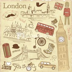 Download these #Vintage London Doodles! Great to use for graphic design!