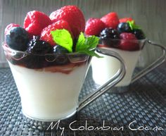 My Colombian Cocina - Postres Colombian Desserts, Colombian Food, Colombian Recipes, Tropical Desserts, Cold Desserts, Blancmange, Red Fruit, Dessert Bread, The Dish