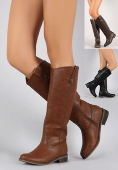Women's Knee High Stack Heel Equestrian Riding Boot Round Toe Cowboy PU-Leather #Breckelles #RidingEquestrian #Casual