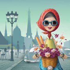 Nina de San illustration of Parisian girl bicycling with baguettes.