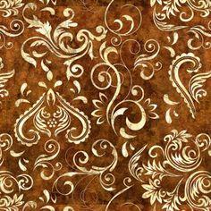 Unbridled Inlay Scroll - Dk Sienna Fabric