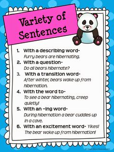 Upper Elementary Snapshots: Writing How to vary sentences