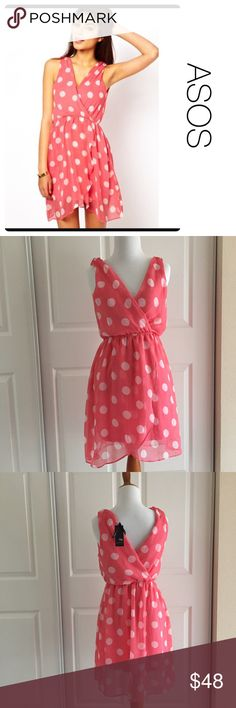 NWT ASOS pink polka-dot dress by tfnc London S ♦️New with tag! ♦️materials- 100 polyester/ lining- 97 viscose and 3 elastane ♦️Measurements: ♦️Underarm to underarm flat across is approximately 17 inches    ♦️Back of neck to bottom of front hem is approximately 36 inches ASOS Dresses
