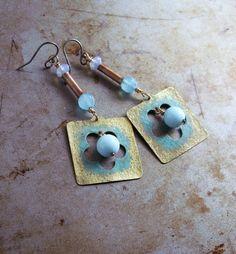 Earrings handmade brass copper dangle blue beads by copperryfields, $30.00