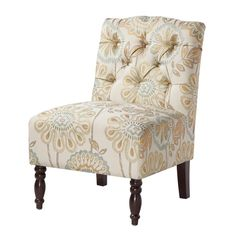 Classic Button-Tufting, Armless Design, Turned Legs, Are All Words To Describe How This Chair Adds Vintage Appeal Featuring Its Colorful Quilted Floral Motif.FeaturesProduct Type - Lola Tufted Armless ChairColor - MultiMade With High Quality Material Armless Accent Chair, Accent Chairs, Tufted Chair, Chair Upholstery, Upholstered Chairs, Furniture Legs, Accent Furniture, Retro Furniture, Furniture Outlet