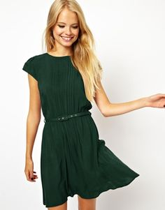 ASOS Skater Dress With Pintucks And Belt  i LOVED this one in the lighter green and here it is in a better (?) color!! and the belt  could easily be replaced with a brown leather one.