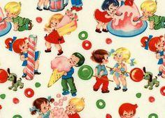 Retro Fabric Kids in a Candy Shop Cream