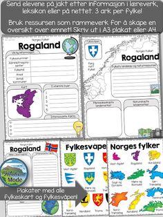 Vi lærer av å utforske! Send elevene på jakt etter kunnskap med å undersøke. Prosjekt eller individuelt arbeid om fylkene! School Subjects, Discovery, Bullet Journal, Teaching, Motivation, Tips, Blog, Montessori, Culture