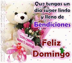 Feliz Domingo Gif, Happy Week, Morning Inspiration, Morning Messages, Teddy Bear, Blessings, Spanish, Navy Party, Hot Chocolate