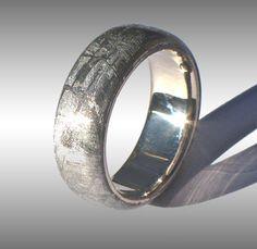 Gibeon Meteorite Ring in 18k Palladium White Gold