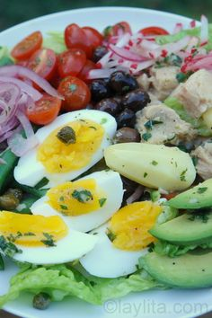 Nicoise salad with a Latin twist (avocado, pickled red onions, and serrano cilantro dressing