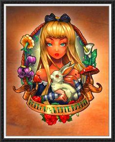 Tim Shumate Disney Pin Up Alice in Wonderland Disney Pin Up, Art Disney, Disney Kunst, Alice Disney, Punk Disney, Disney Girls, Disney Horror, Tinkerbell Disney, Disney Icons