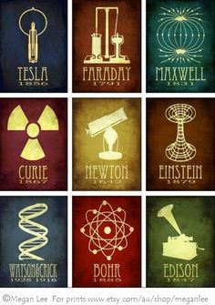 Celebrating great scientists, Megan Lee's posters use silhouette icons in minimalist, vintage-feel tributes to the likes of Curie, Einstein, Newton, Tesla, Oppenheimer, Bardeen, Maxwell, Bohr, Feynman, and more. ©Megan Lee. Prints available singly or in sets through Etsy