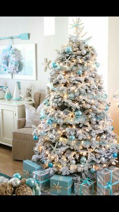 But if you truly want to stand out, we'd suggest you go for a blue Christmas tree this year. we've gathered a list of blue Christmas tree decoration ideas. Coastal Christmas Decor, Nautical Christmas, Indoor Christmas Decorations, Silver Christmas, Noel Christmas, Cheap Christmas, Classy Christmas, Rustic Christmas, Coastal Decor