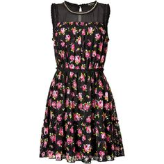 Juicy Couture Lace Roses Dress (130 CAD) ❤ liked on Polyvore featuring dresses, vestidos, black, short dresses, sheer lace dress, see through dress, short black cocktail dresses, short black dresses and lace cocktail dress