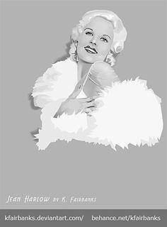 Jean Harlow vector drawing by K. Fairbanks - View more Celebrity Art by K Fairbanks here on Pinterest or on- http://www.behance.net/kfairbanks | First pinned to Celebrity Art Board here- http://pinterest.com/fairbanksgrafix/celebrity-art/  #Art #CelebrityArt  #JeanHarlow #Vector