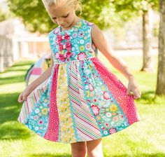 Olivia's Best Dress Pattern featuring the Fancy Free Fabric Collection by Lori Whitlock for Riley Blake Designs