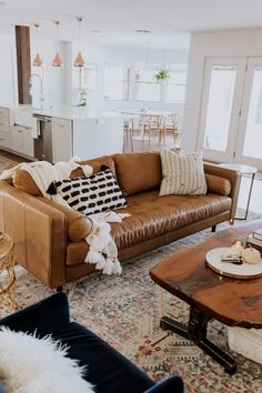 the ldl home: our living room reveal loving this gorgeous tan leather sofa in our new living room! Brown Leather Couch Living Room, Living Room Decor Brown Couch, New Living Room, Living Room Modern, Tan Couch Decor, Small Living, Brown Sofa, Living Room Couches, Living Area