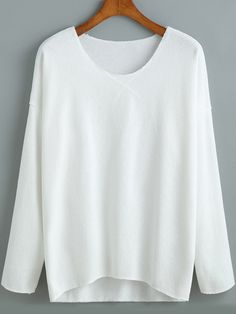White V Neck Loose Casual T-Shirt Mobile Site
