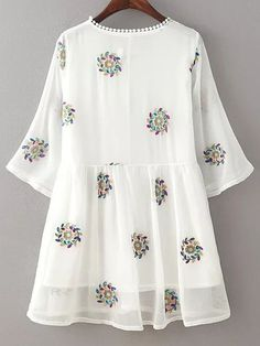 Cheap vestidos plus, Buy Quality boho beach dress directly from China summer chiffon dresses Suppliers: 2017 Women Summer Chiffon Dress O Neck Three-Quarter Sleeve Floral Embroidery Boho Beach Dress Sweet vestidos Plus Size Stylish Dresses For Girls, Stylish Dress Designs, Designs For Dresses, Kurta Designs Women, Blouse Designs, Frock Fashion, Fashion Dresses, Pakistani Dresses Casual, Modelos Plus Size